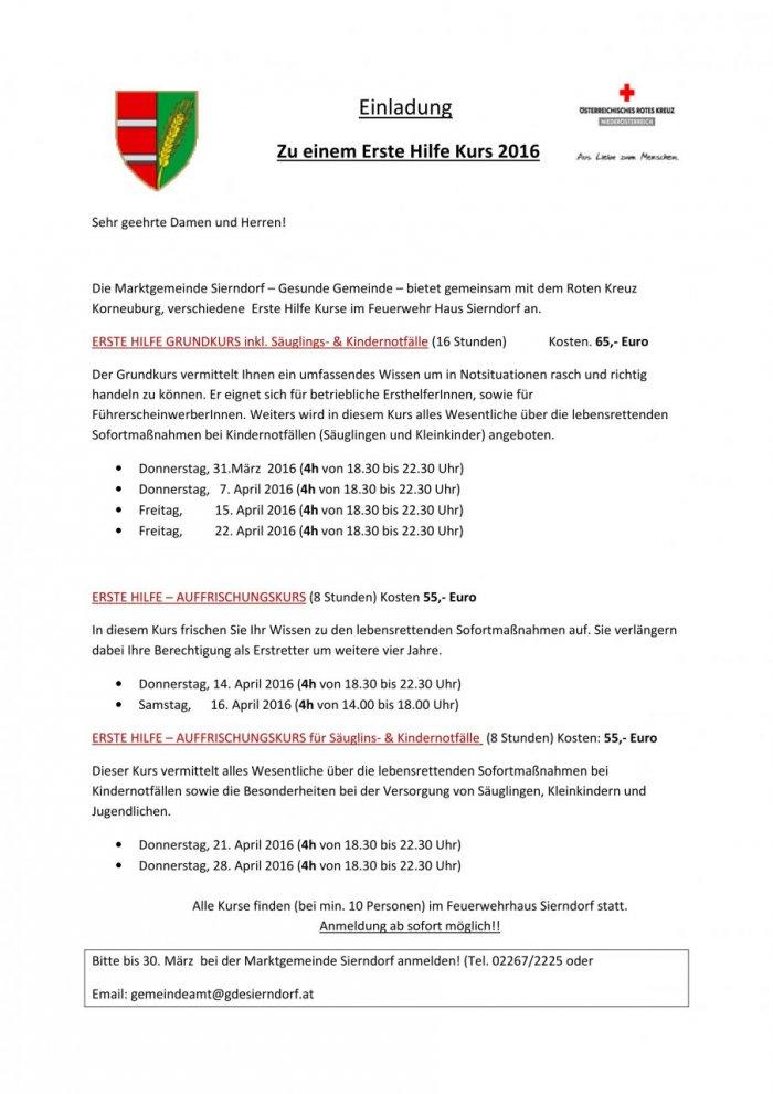 einladung erste hilfe kurse | sierndorf, Einladung